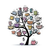 Art tree with mugs and cups. Sketch for your design — Stock Vector