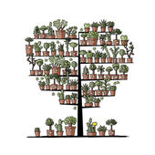 Art tree with plants in pots, sketch for your design — Stock Vector