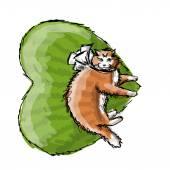 Cute orange cat, sketch for your design — Stock Vector