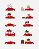 Set of different red cars with luggage for your design — Stock Vector