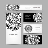 Business cards collection, abstract floral design — Stock Vector