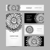 Colección de tarjetas de visita, diseño floral abstracto — Vector de stock