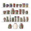 Set of pickle jars with fruits and vegetables — Stock Vector #75528469
