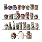 Set of pickle jars with fruits and vegetables — Stock Vector