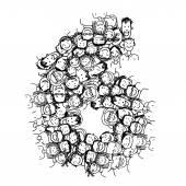 Number six, people crowd, vector alphabet design — Stock Vector