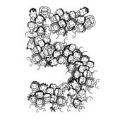Number five, people crowd, vector alphabet design — 图库矢量图片