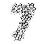 Number seven, people crowd, vector alphabet design — Stock Vector