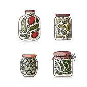 Bank of pickled vegetables, sketch for your design — Stock Vector