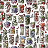 Seamless pattern with pickle jars fruits and vegetables — Stock Vector