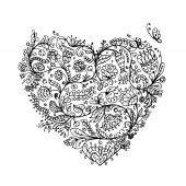 Ornate floral heart for your design — Stock Vector