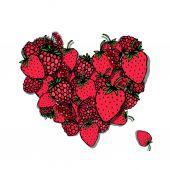 Berries heart, sketch for your design — Stock Vector