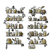 Shelves with beer icons, sketch for your design — Stock Vector