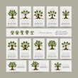 Set of cards with art trees for your design — Stock Vector #82330042