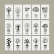 Set of cards with art trees for your design — Stock Vector #83618264