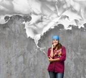 Maler mit pinsel und weißer spritzer — Stockfoto