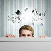Businessman looking out — Stock Photo