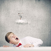 Businessman screaming on businesswoman — Stock Photo