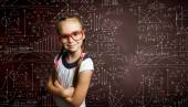 Schoolgirl in glasses — Foto Stock