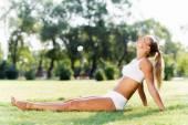Mujer estirando en el parque — Foto de Stock