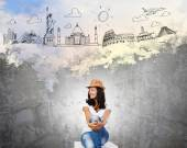 Lady dreaming about world trip — Stock Photo