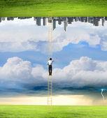 Businessman between two realities — Stock Photo