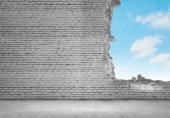 Brick damaged wall — Stock Photo