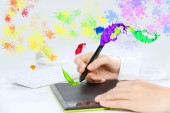Hand drawing business strategy plan — Photo
