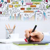 Hand drawing business strategy plan — Foto de Stock