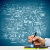Hand drawing business strategy plan — Stock Photo