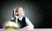 School girl at lesson — Stock Photo