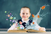 School girl with opened book — Stock Photo