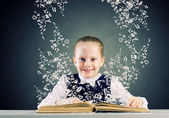 Girl with opened book — Stock Photo