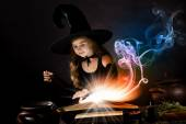 Witch reading conjure — Stock Photo
