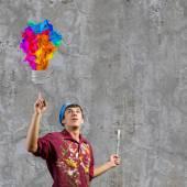 Man painter having idea — Stock Photo