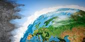 セメント壁と地球惑星の絵画 — ストック写真