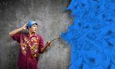 Pintor de hombre con cepillo — Foto de Stock