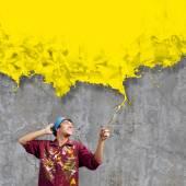 Man painter with brush — Stock Photo