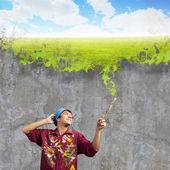 Maler mann mit pinsel — Stockfoto