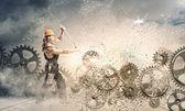 Man mechanic fixing mechanism — Stock Photo
