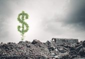 Dollar sign growing on ruins — Stock Photo