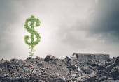 Dollar sign growing on ruins — Foto Stock