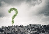 Image with green question mark — Stock Photo