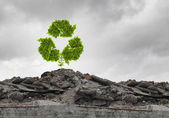 Recycle green sign growing on ruin — Stock Photo