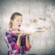 Woman holding opened book — Stock Photo