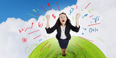 Businesswoman screaming joyfully — Stock Photo