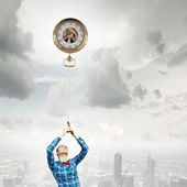 Woman with pocket watch — Stock Photo