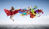 Young woman dancer jumping — Stock Photo