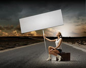 Woman with blank banner — Foto de Stock