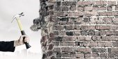 Hand crashing wall — Stock Photo