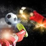Footballer foot kicking ball — Stock Photo #52981113